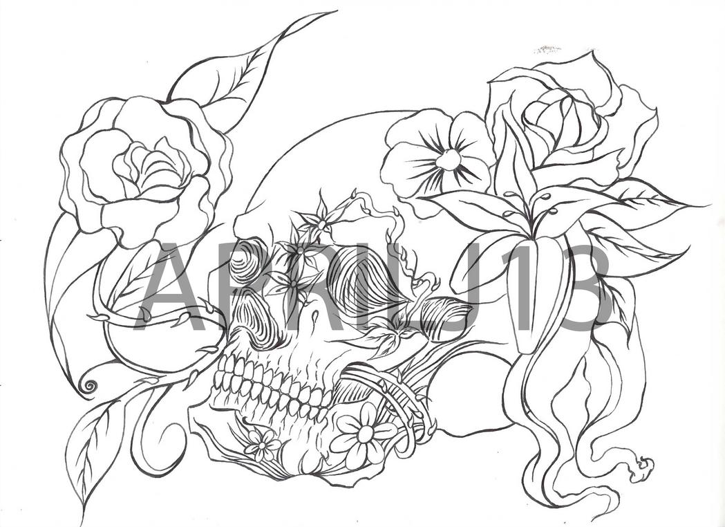 Simple Skull Line Art : Simple tattoo stencils joy studio design gallery best