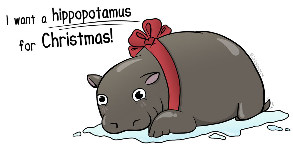 Hippo For Christmas.Hippo For Christmas By Sarinasunbeam On Deviantart
