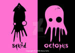 squid and octopus