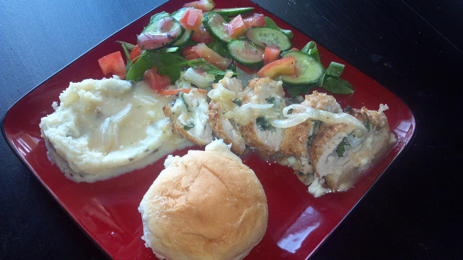 Chicken Roulade w/Mashed Potatoes Salad by FutureChefHaku
