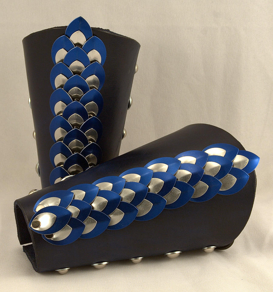 Blue / Silver Dragon Scale Leather Bracer by ArmouredWolf907