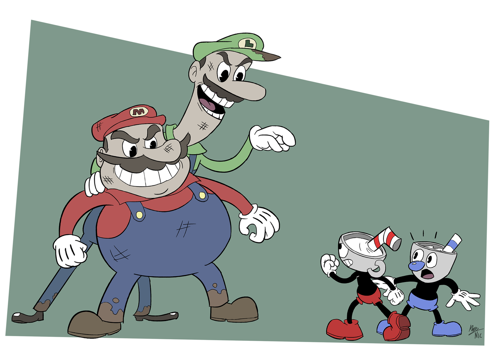 cuphead and mugman vs the super mario bros by a3dnazrigar