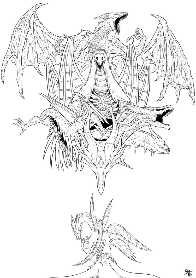 Line Art - Dragons of Dark Souls by A3DNazRigar
