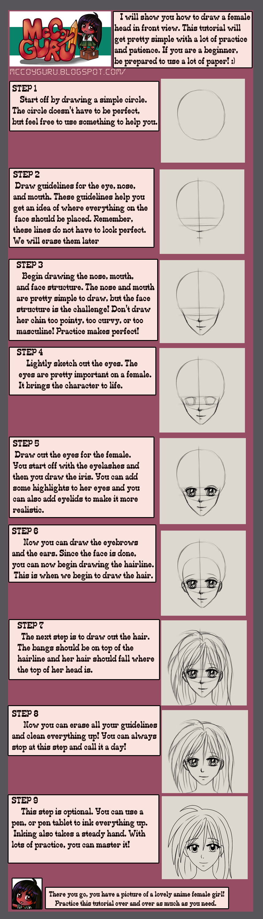 How to Draw An Anime Female Front View Head by Jalisha