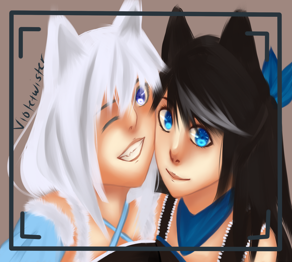 Kuromi/Shiromi selfie - Contest entry by Violetwister