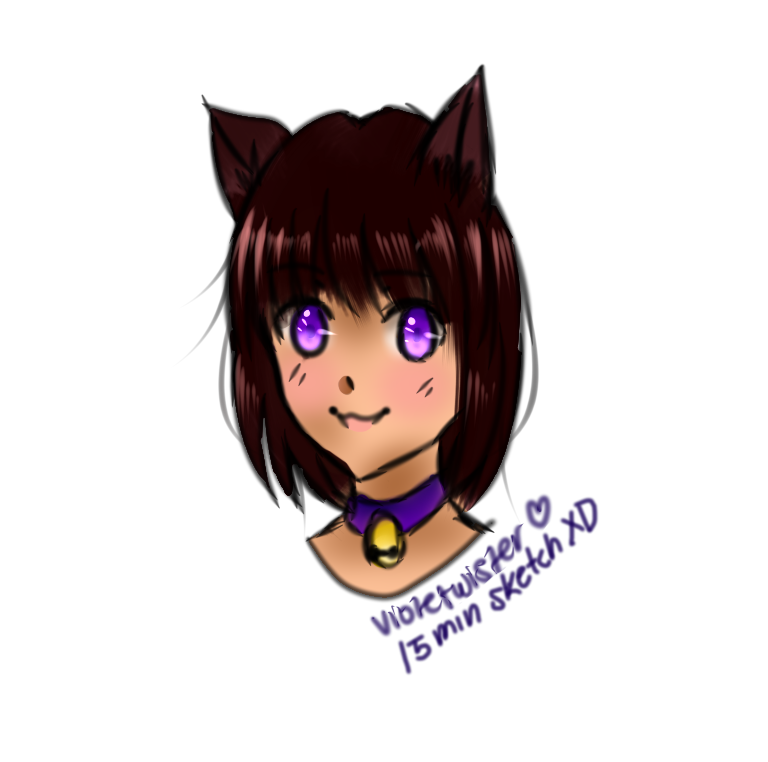 Cat girl- Very quick art by Violetwister