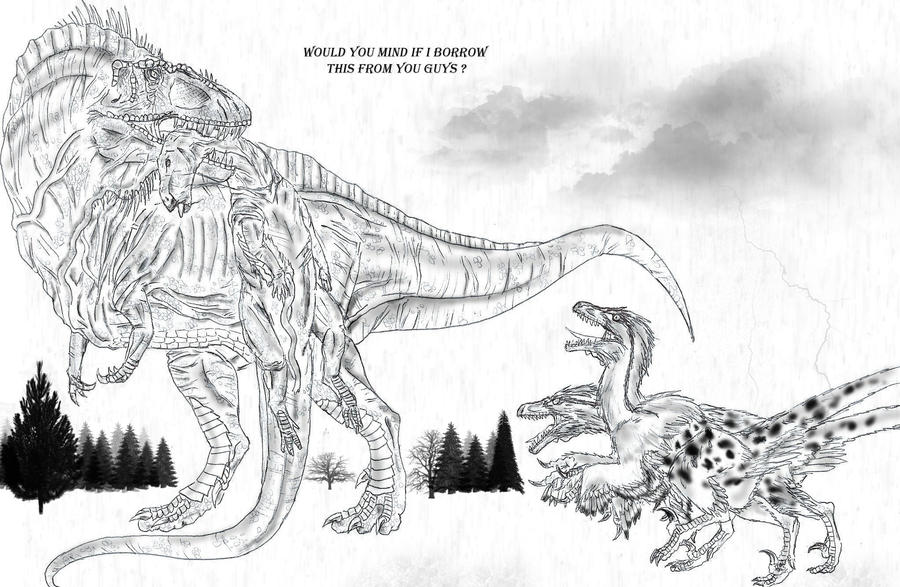 t rex and spinosaurus coloring pages - photo #16