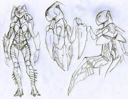 Sketch shrimp female body by Drakoniawar
