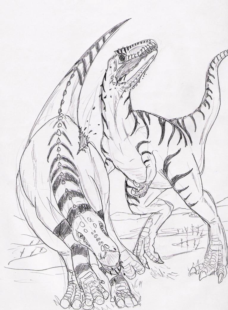 Allosaurus vs Camptosaurus by hyphenatedsuperhero