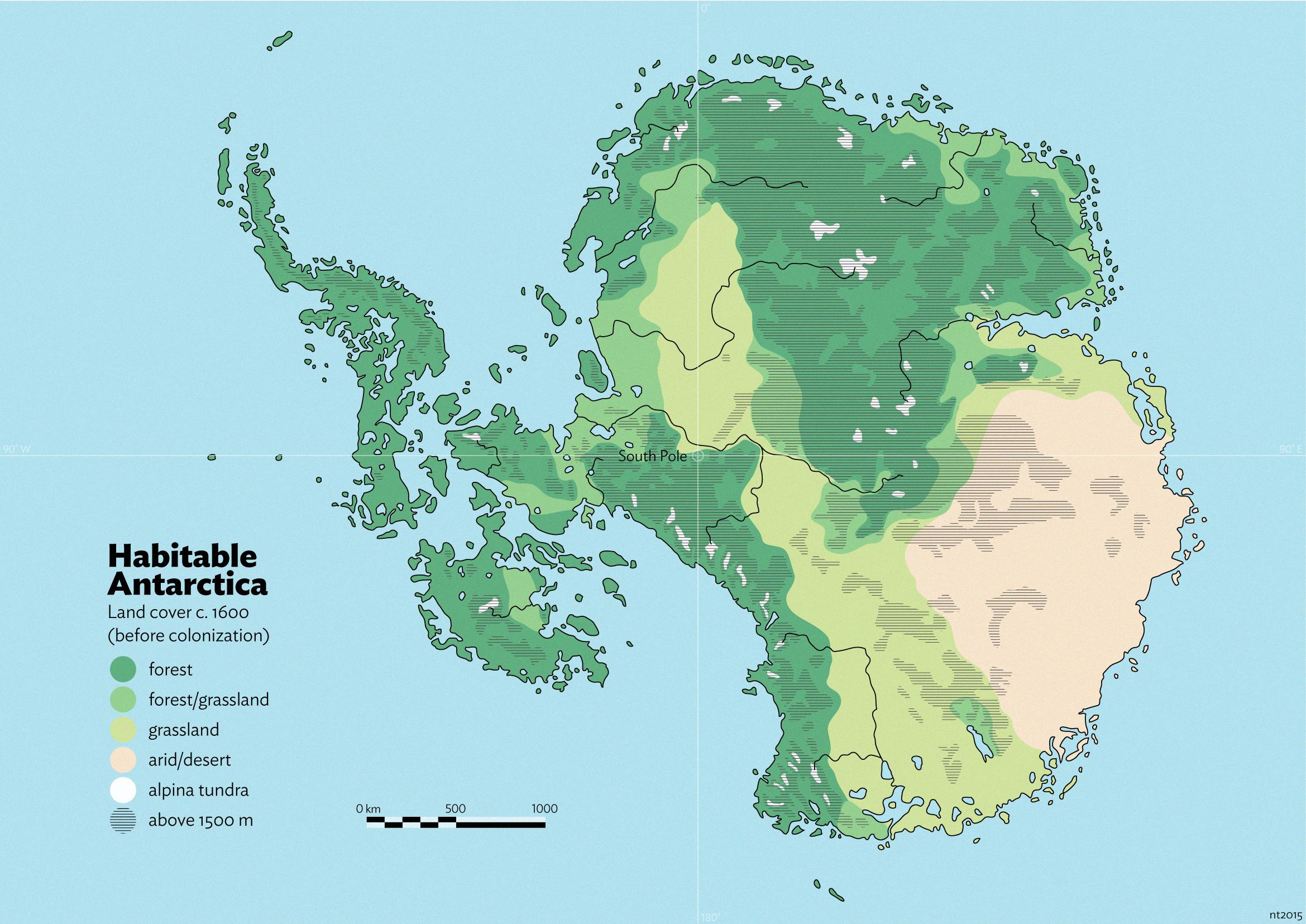 Antarctica Green Island Map