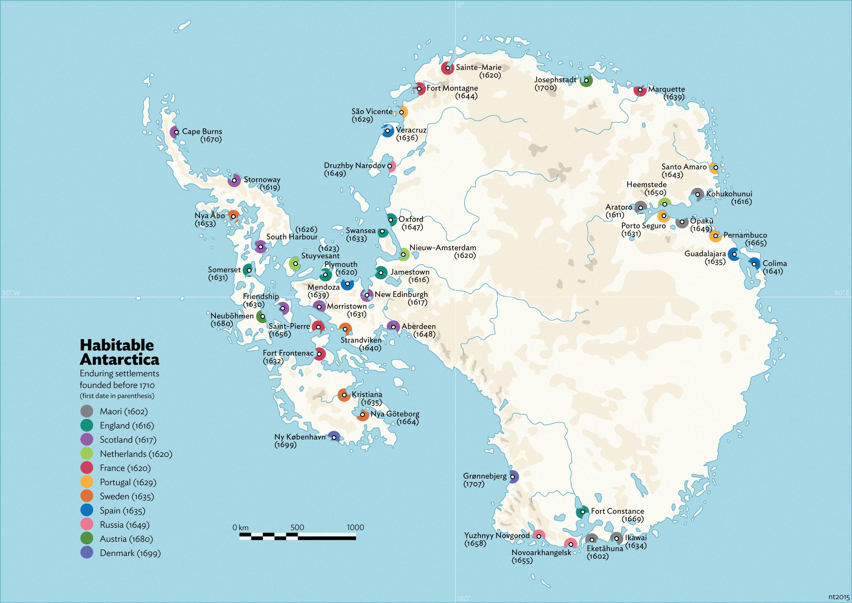 Habitable Antarctica: Settlements before 1710 by schreibstang