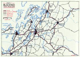 1924 Blackned Auto Road Map (hand-drawn)