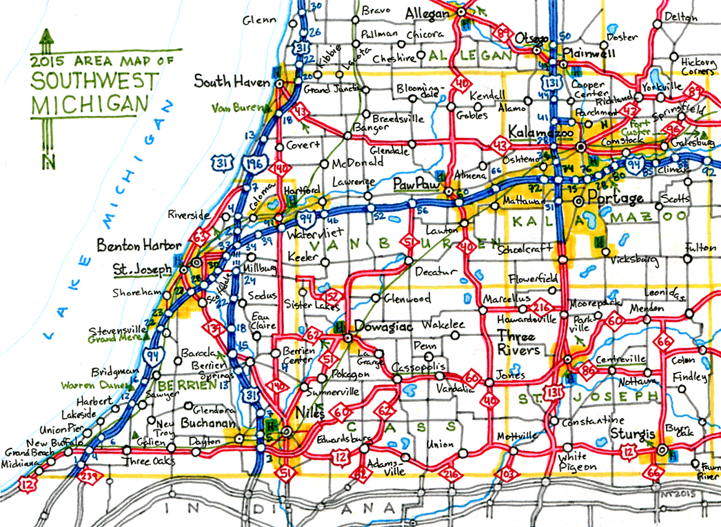 A mostly accurate road map of Southwest Michigan by schreibstang