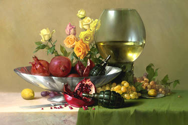 pomegranate still life by Hamsterfly