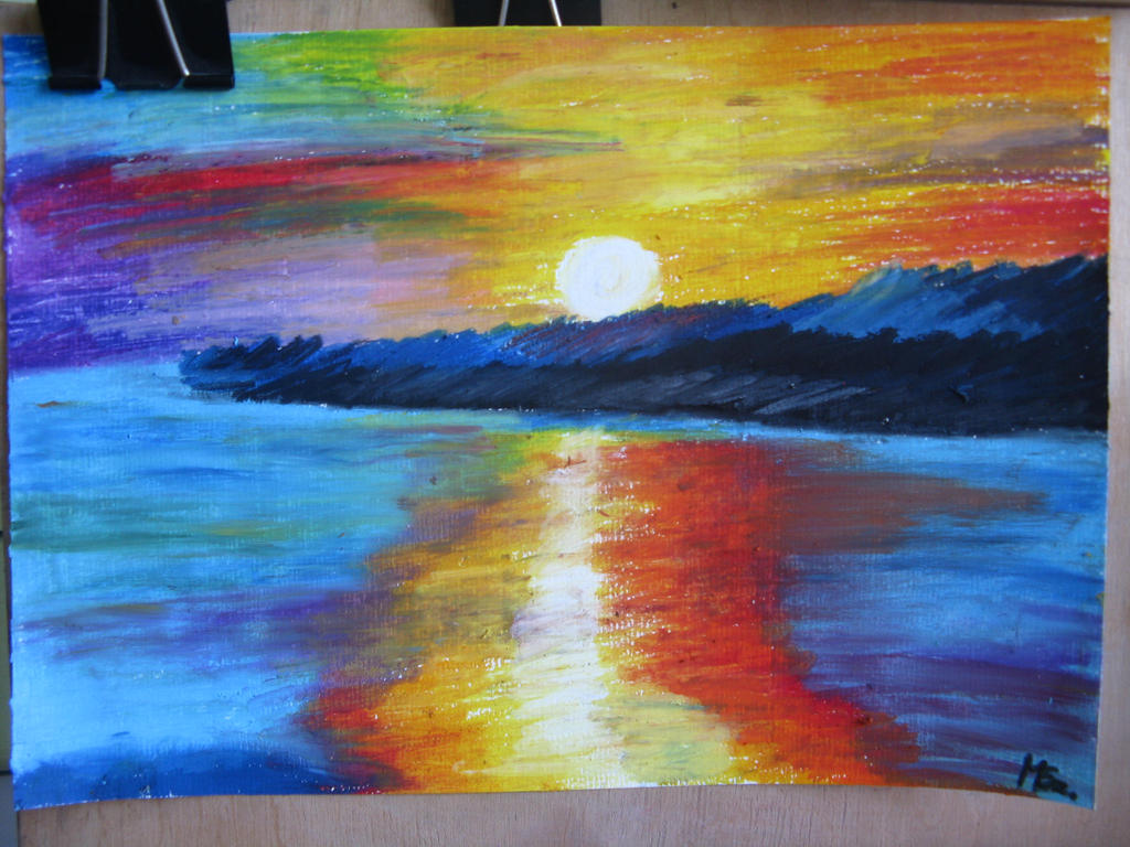 Oil Pastels Paintings Sunset