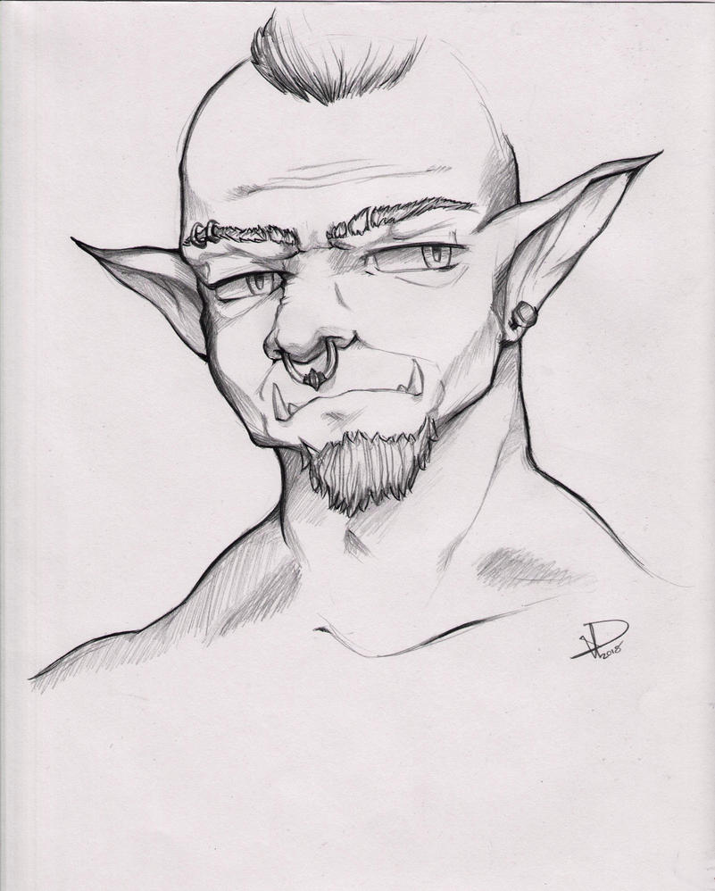 Generic Orc Sketch (traditional) by Maarzkid