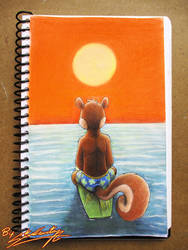 Scotty Squirrel looking at the sunset by SAGADreams