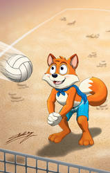 Super Lucky Fox playing volleyball (1) by SAGADreams