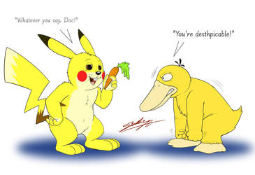 Pikachu-bunny vs Psyduck! by SAGADreams