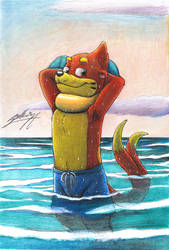 Buizel-otter standing at the sea!