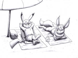 Pikachu-Bunny and Eevee-Foxy at the beach (sketch)