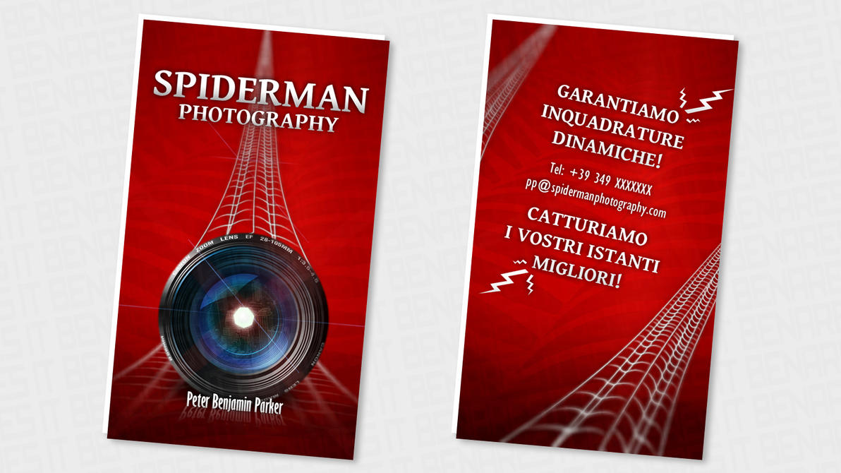 Shbc spiderman super hero business card by benares78 on for Superhero business cards