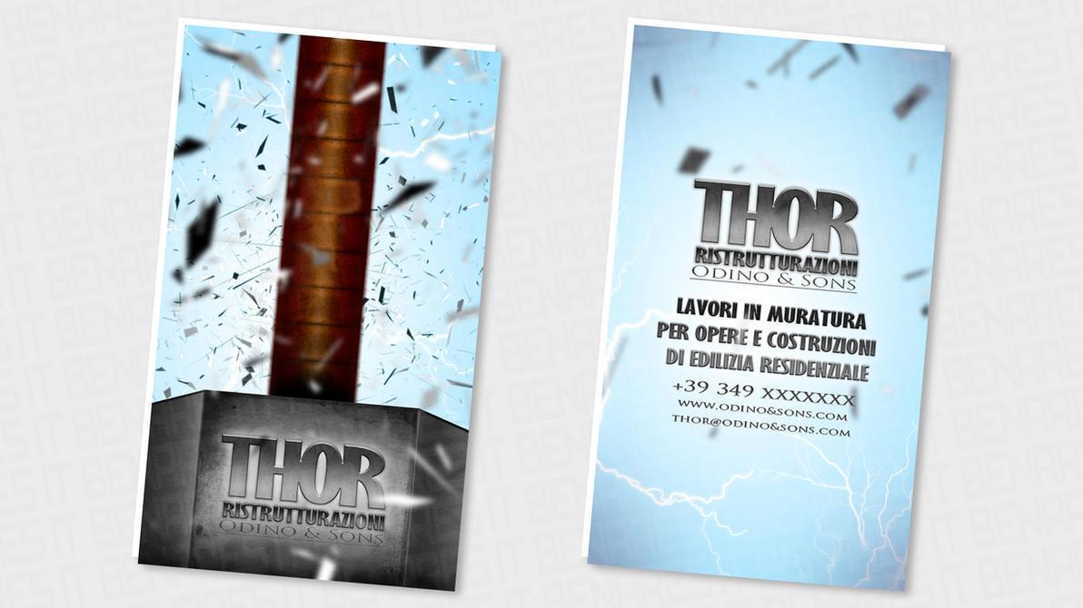 Shbc thor super hero business card by benares78 on for Superhero business cards