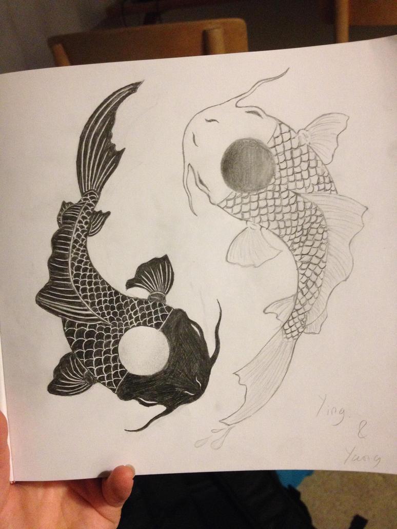 Ying and Yang Japanese koi fish by SpiritsStudio