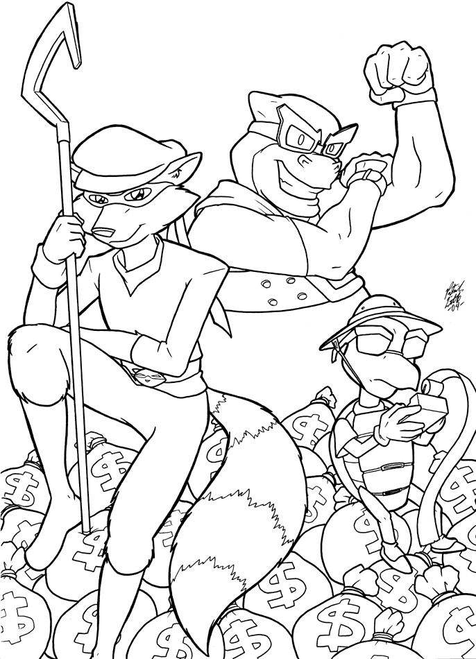 Sly Cooper Gang By Shingallon On Deviantart Sly Cooper Coloring Pages