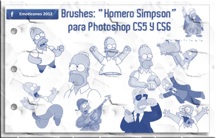 Brushes: Pinceles 'Homero Simpson' para Photoshop by Emoticones2012