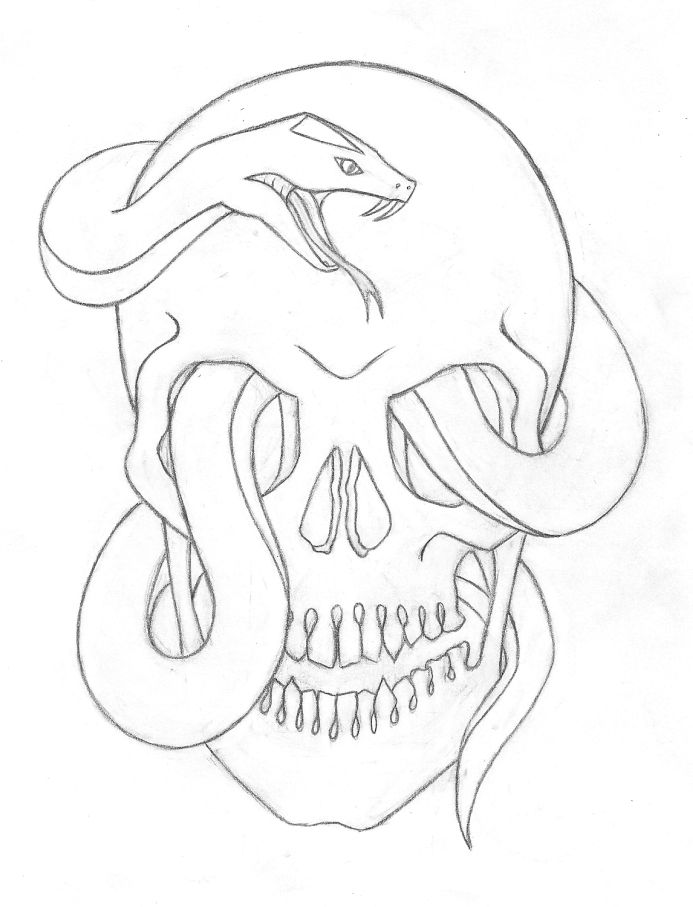 Cool Snake Drawings Skull And By Itsamore