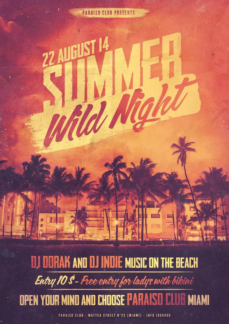 Summer Wild Night Flyer/Poster by Giunina