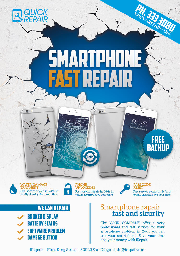 Smartphone Repair II Flyer/Poster by Giunina