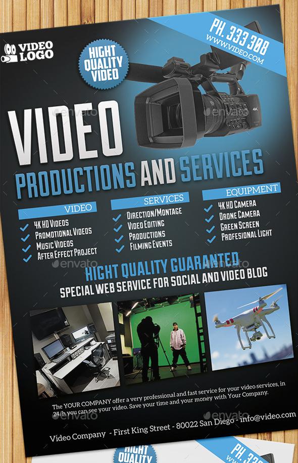 edit video production and services flyer poster by giunina on deviantart. Black Bedroom Furniture Sets. Home Design Ideas