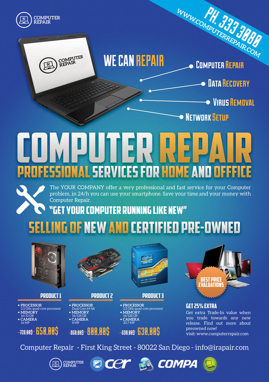 computer repair flyerposter by giunina