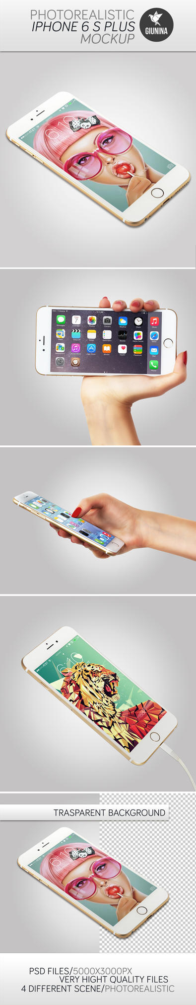 iPhone 6 S Plus Photorealistic Mockup by Giunina