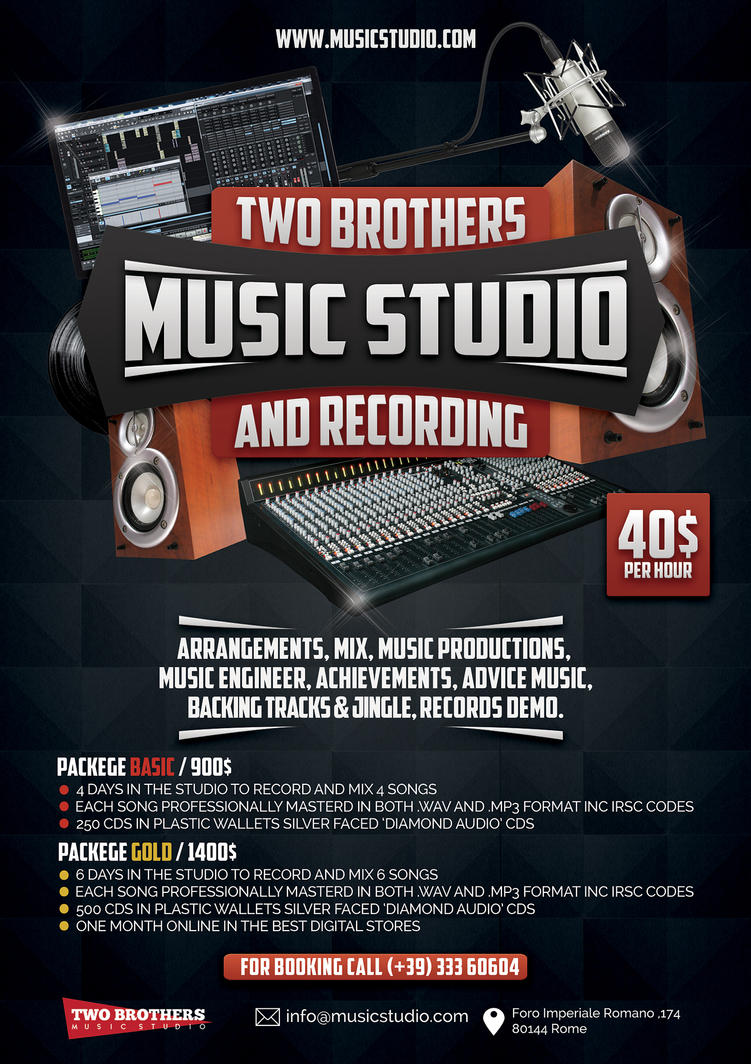 Music Recording Studio 3 Flyer Poster by Giunina
