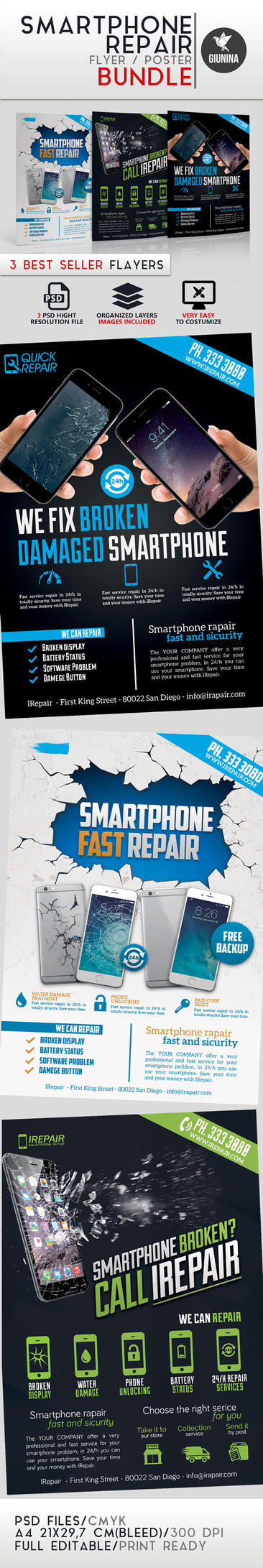 Smartphone Repair Flyer/Poster Bundle by Giunina