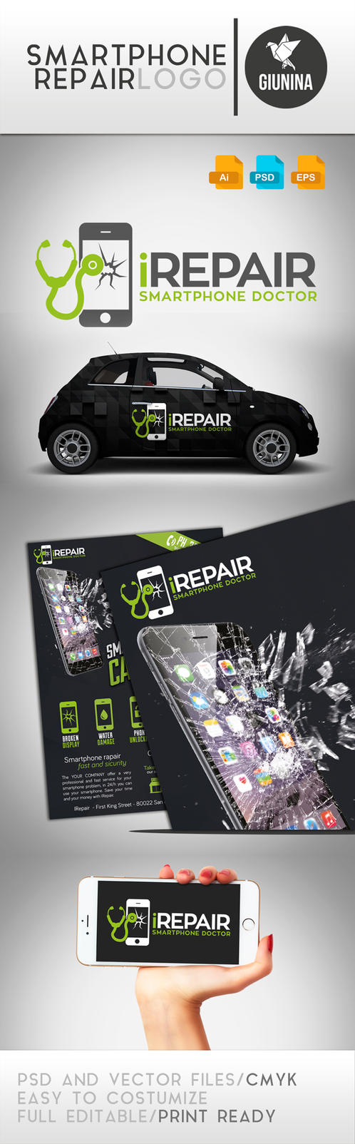 Smartphone Repair Logo Template by Giunina
