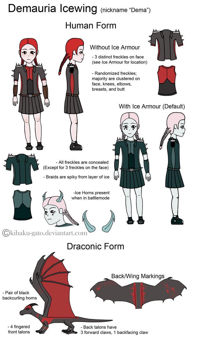Demauria Icewing Reference/Character Sheet by Kihaku-Gato