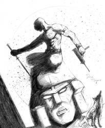 Snake Eyes vs Megatron by DougSQ