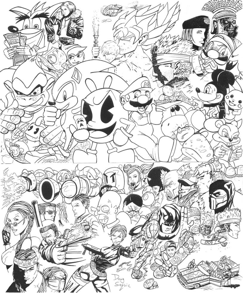 Line Drawing Game : Video game characters by dougsq on deviantart