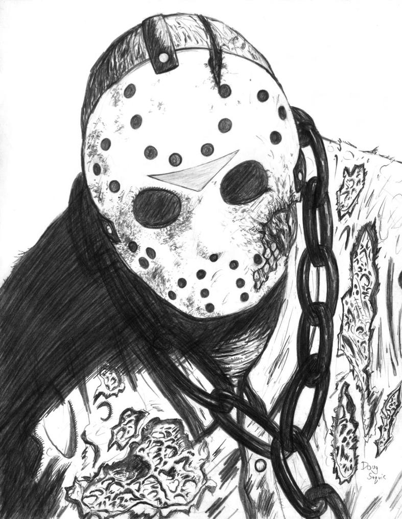 Friday The 13th Jason Mask Drawing | www.imgkid.com - The ...