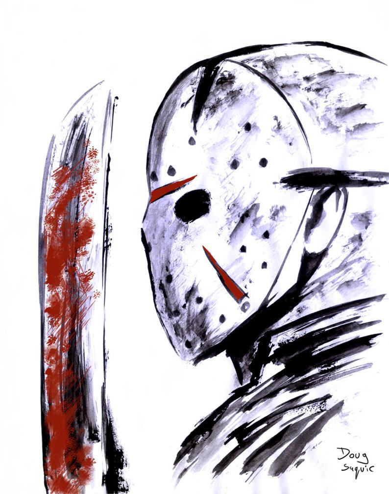 Jason Paint and Brush Bloody Machete by DougSQ