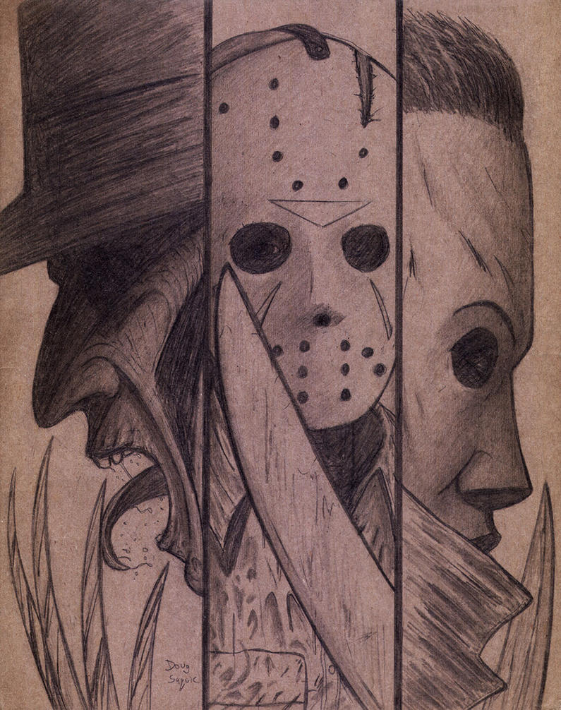 Freddy ,Jason,and Michael on Cardboard by DougSQ