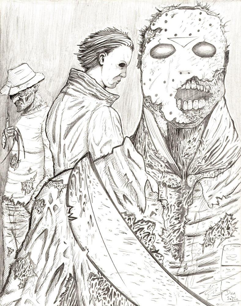 Freddy vs jason michael by dougsq on deviantart jason printable coloring pages horror movie villians