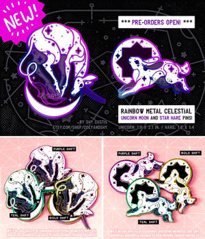 Rainbow Plated Celestial Animal Pins