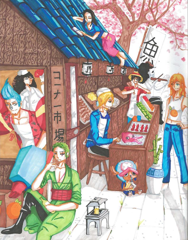One Piece corner shop by redlaserartist