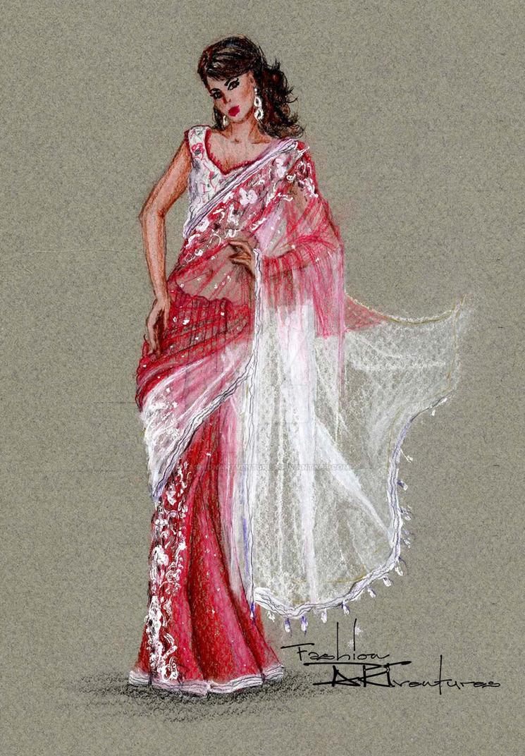 saree sari drawing layered sheer fabrics by
