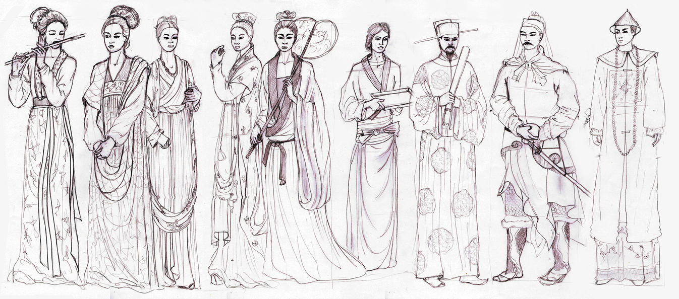 Ancient Chinese People Drawing